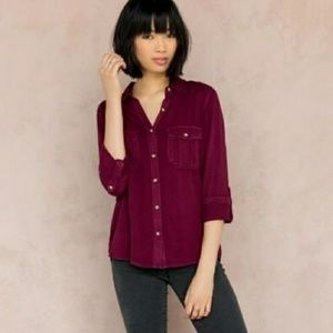 Francesca's collective maroon button up